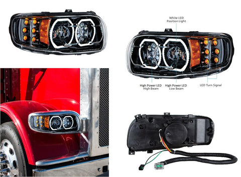 Image of Pair of Blackout LED Headlights with LED Halos & Turn Signals for Peterbilt 388/389