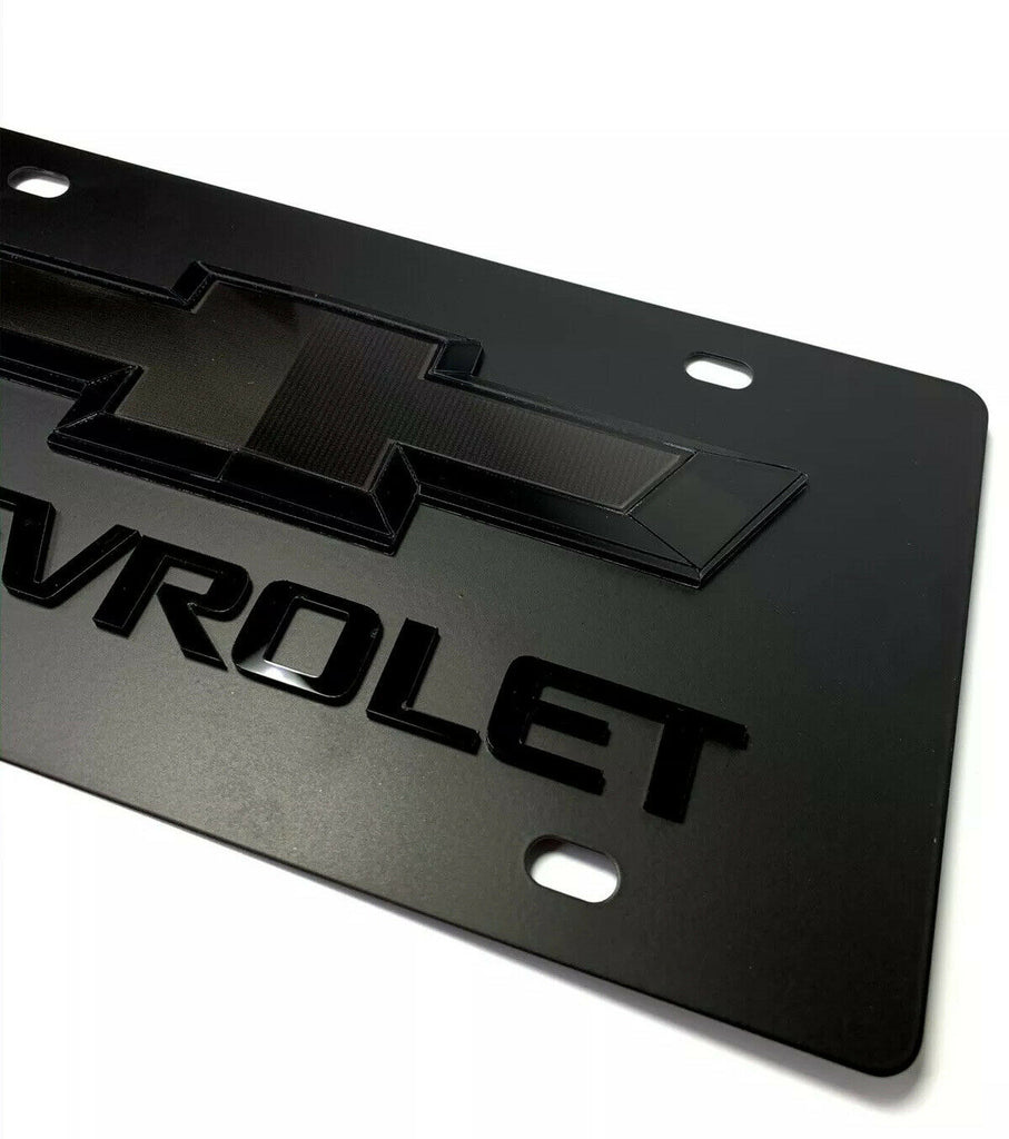 Chevy Bowtie Emblem Black License Plate w/ 3D Gloss Chevrolet Script / Logo - 2
