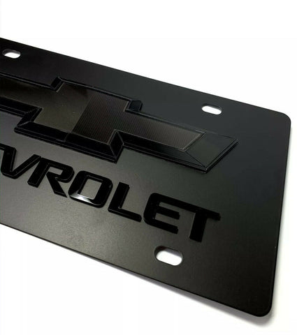 Full Black Chevy Bowtie Emblem License Plate w/ 3D Gloss Chevrolet Script Logo