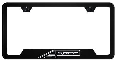 Image of Acura A-Spec License Plate Frame - Black w/ Silver Logo - Main