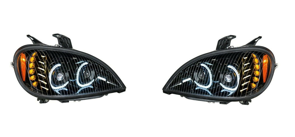Pair of Blackout LED Headlights with LED Turn Signal & Halo for Freightliner Columbia - 3