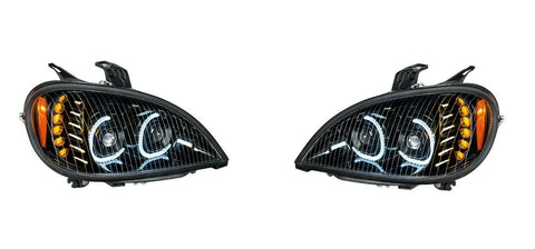 Image of Pair of Blackout LED Headlights with LED Turn Signal & Halo for Freightliner Columbia - 3
