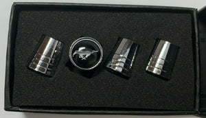 Ford Mustang Valve Stem Caps - Tapered Chrome w/ Black - Main