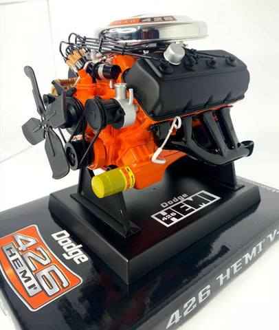 Model Engine 1:6 Scale Replica Diecast Of Orange Dodge HEMI 426 Motor - 1