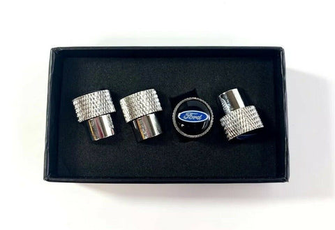 Ford Oval Valve Stem Caps - Knurled Chrome w/ Black - Main