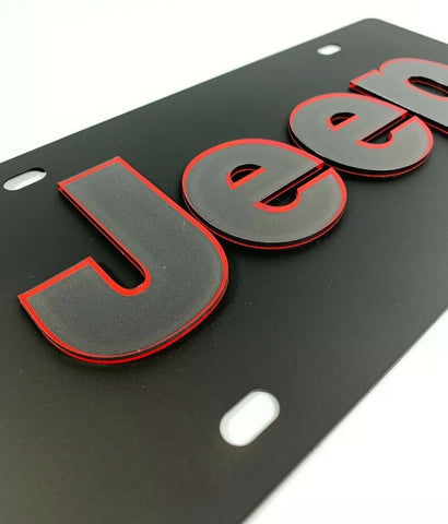 Vanity Black Jeep License Plate - Red Outlined Emblem