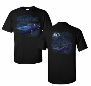 Graveyard Carz T-Shirt - Black w/ Blue Plymouth Superbird Restored (Licensed)