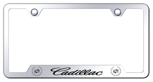 Cadillac License Plate Frame - Chrome w/ Black Logo - Main
