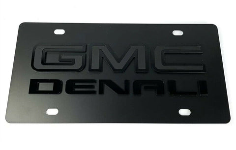 Image of GMC Denali Emblem Premium Full Black License Plate - 3D Logo - 1