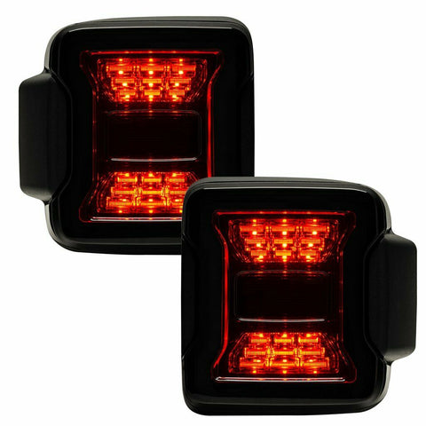 "Image of 2018-2020 Jeep Wrangler JL Pair LED Tail Lights - ""Blacked Out Series"" Premium - 4"