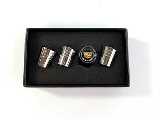 Cadillac Valve Stem Caps - Tapered Chrome w/ Black - Main