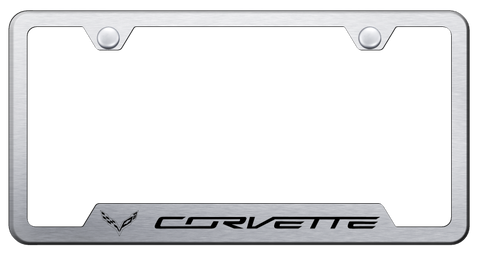 Image of Chevy C7 Corvette License Plate Frame - Brushed w/ Black Logo