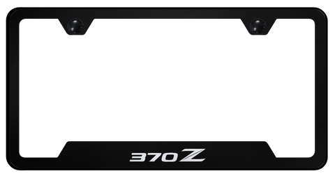 Image of NISSAN 370Z License Plate Frame - Black w/ Silver Logo - Main
