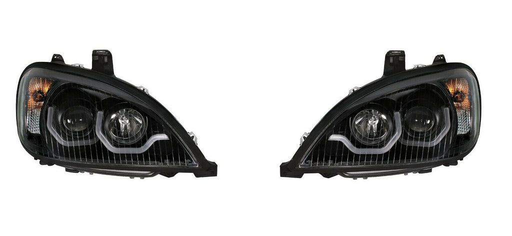 "Pair ""Blackout"" Headlights with Dual LED Amber Light Bar for Freightliner Columbia - 4"