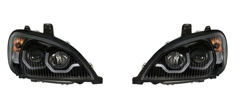 "Image of Pair ""Blackout"" Headlights with Dual LED Amber Light Bar for Freightliner Columbia - 4"
