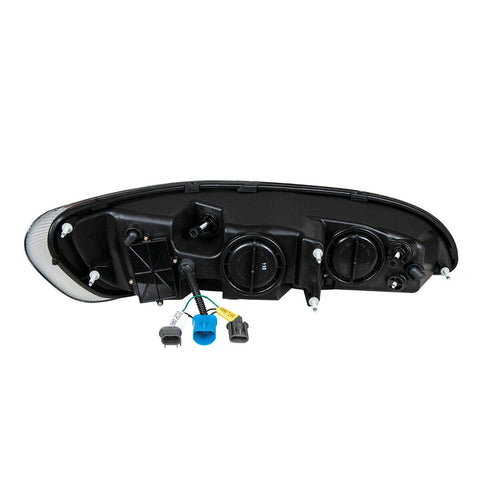 Image of Pair of Chrome Projection Headlights with LED DRL & Turn Signals for Peterbilt - 6