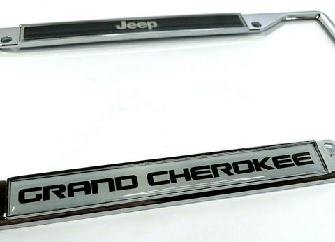 Image of Jeep Grand Cherokee License Plate Frame - Chrome w/ Black - Logo