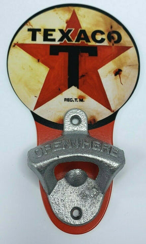 Vintage Style Texaco Star Wall Mount Metal Bottle Opener Sign
