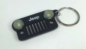 Jeep Wrangler Keychain - Black Metal Front Grill W/ LED Headlights - Main