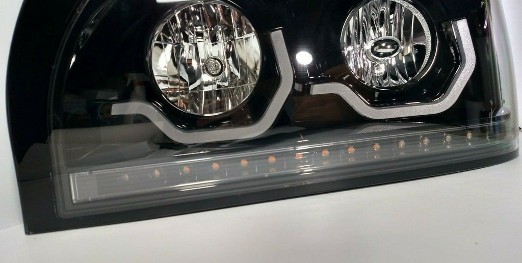 Pair Blackout Headlights with LED Turn Signal & Light Bar for Freightliner Century - 5