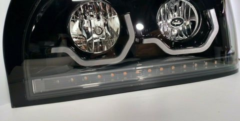 Image of Pair Blackout Headlights with LED Turn Signal & Light Bar for Freightliner Century - 5