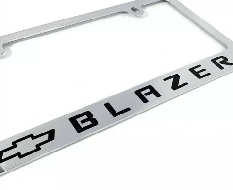 Chevy Blazer Chrome License Plate Frame - Premium Engraved w/ Black Bowtie - 1