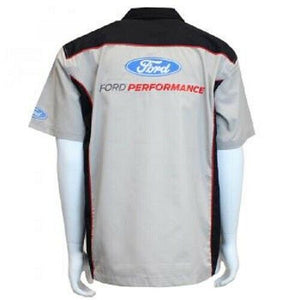 Mechanic Style Button Up Shirt - Gray & Black w/ Ford Performance Emblem / Logo