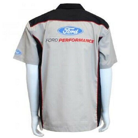 Image of Mechanic Style Button Up Shirt - Gray & Black w/ Ford Performance Emblem / Logo