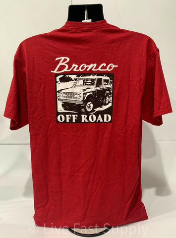 Ford Bronco T-Shirt - Red w/ 1st Generation 1966-1977 Off Road Emblem / Logo - 4