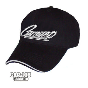Chevy Camaro Hat - Black w/ Chrome Liquid Metal Emblem - Main