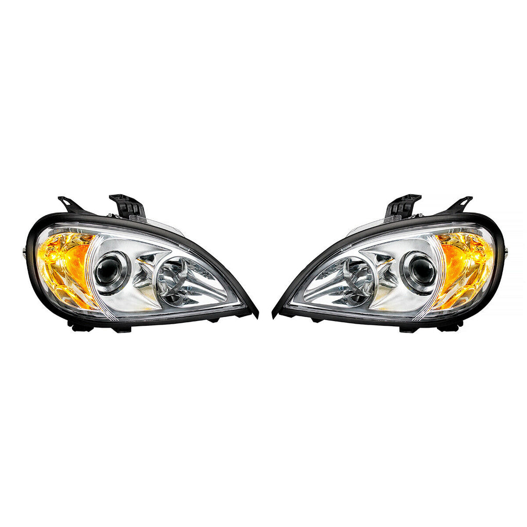 Pair of Chrome Projection Headlights for 1996-2018 Freightliner Columbia - 5