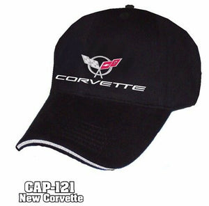 Chevy Corvette Hat - Black w/ Chrome Liquid Metal C5 Emblem - Main