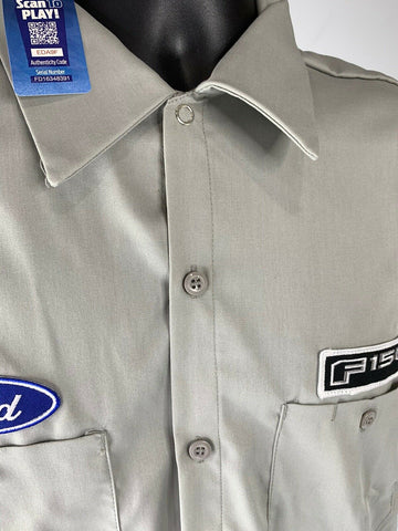 Mechanic Style Button Up Shirt - Gray w/ Blue Ford Oval & Black F-150 Emblem - 5