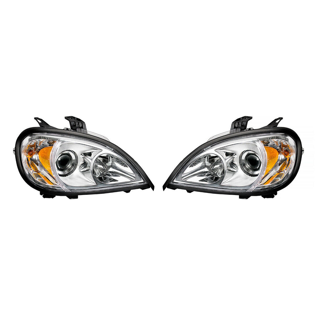 Pair of Chrome Projection Headlights for 1996-2018 Freightliner Columbia - 4