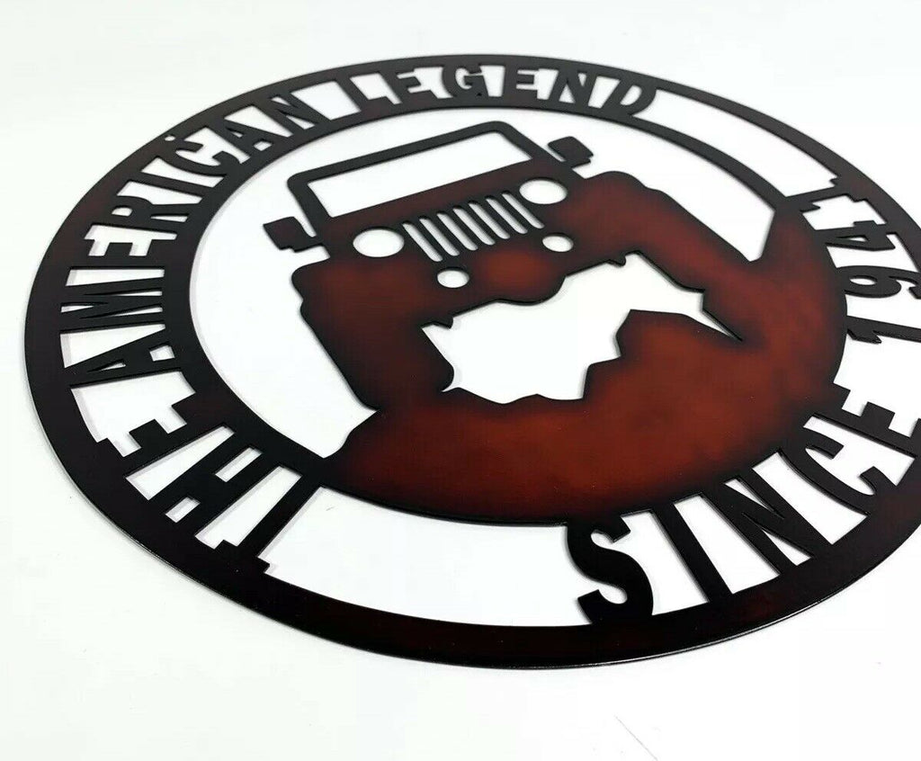 The American Legend Jeep Off Road Laser Cut Metal Sign (14'' Diameter) - 1