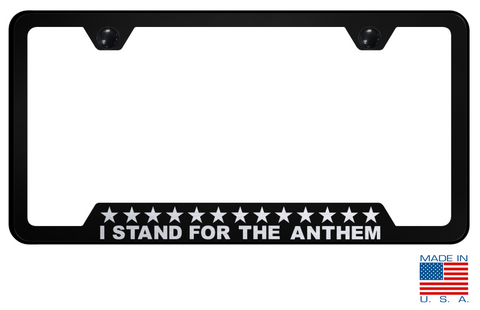 "Image of American ""I Stand For The Anthem"" License Plate Frame - Black w/ Silver"