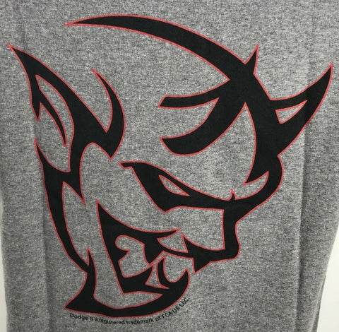 Gray T-Shirt w/ Red Dodge Demon Emblem / Logo (Licensed) - 3