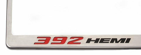 Image of Stainless Steel License Plate Frame w/ 392 HEMI Emblem (Licensed by MOPAR) - 2