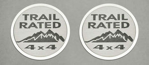 Pair of 2007-2018 Jeep Wrangler Trail Rated Badges / Emblems (Stainless Steel)