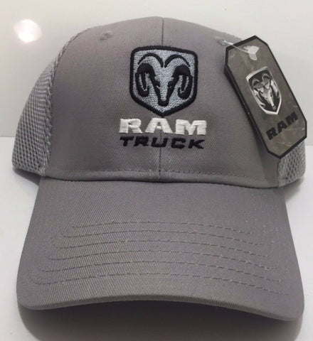 Image of Dodge Ram Hat - Gray w/ Ram Truck Emblem - Main