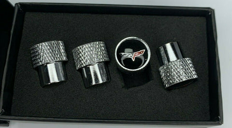 Corvette C6 Valve Stem Caps - Knurled Chrome w/ Black - Main