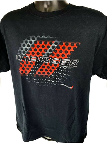 Black T-Shirt w/ Red & Black Dodge Charger Grill Emblem / Logo - Licensed - 2