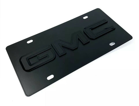 Image of GMC Emblem Premium Black License Plate - 3D Logo (Sierra, Yukon, Canyon)