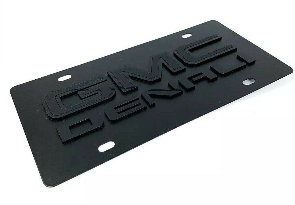 GMC Denali Emblem Premium Full Black License Plate - 3D Logo - 2