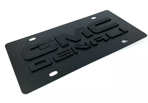 Image of GMC Denali Emblem Premium Full Black License Plate - 3D Logo - 2