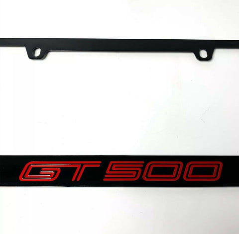Mustang Shelby GT500 Black License Plate Frame (Premium Engraved Letters)