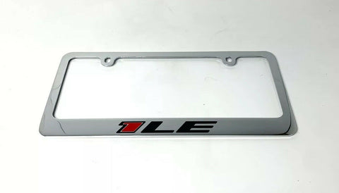 Chevy Camaro 1LE Chrome License Plate Frame - Premium Engraved Emblem - 2