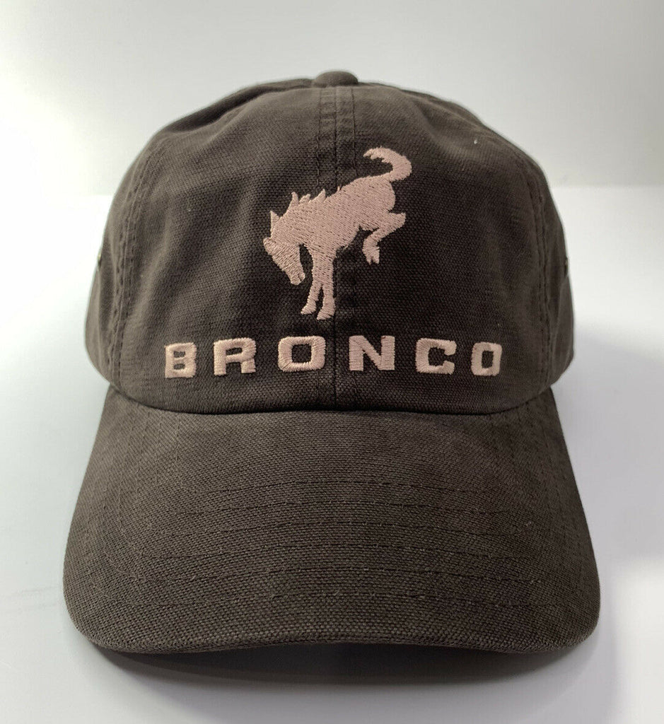 New 2021 Ford Bronco Hat / Cap - Brown w/ Embroidered Tan Bronco Emblem & Script - 1