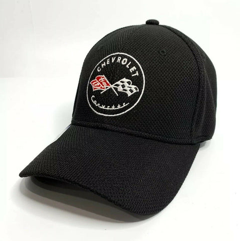 Image of Chevy C1 Corvette Hat / Cap - Black Flexfit Style w/ Crossed Flags Emblem