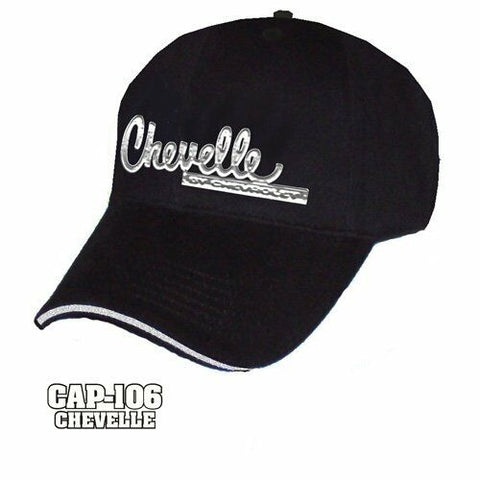 Chevy Chevelle Hat - Black w/ Chrome Liquid Metal Emblem - Main